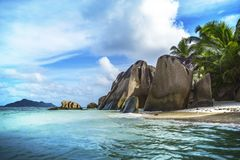 Paradise beach at anse source d`argent on the seychelles 65 Stock Photo