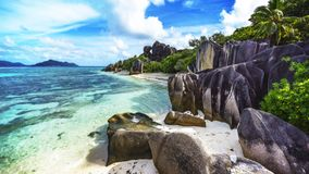 Paradise beach at anse source d`argent on the seychelles 67 Royalty Free Stock Photography