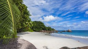 Paradise beach at anse lazio on the seychelles 55. Turquoise water, granite rocks and palm trees in the white sand on the paradise beach at anse lazio on the Stock Photography