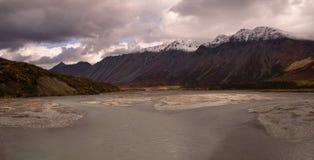 Turquoise Water Gulkana River Flows by Alaska Range Stock Images