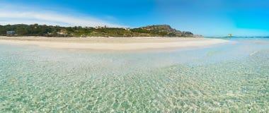 Turquoise water in La Pelosa. Beach, Sardinia Royalty Free Stock Photos