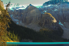 Turquoise water and mountains. Rocky mountains at Lake Louise, Alberta Canada Royalty Free Stock Photo
