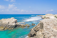 Turquoise water in Oristano coastline Stock Photo