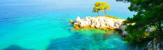 Turquoise water, pine trees and rocky coastline of Skopelos, Greece royalty free stock photos