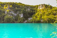 Turquoise water at Plitvice Lakes National Park royalty free stock photos
