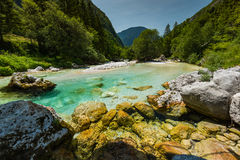 Turquoise water in Soca river, Slovenia.  stock photography