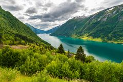 Turquoise water in Sognefjorden, Sogn Og Fjordane county. Norway Royalty Free Stock Photos