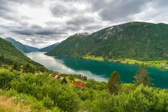 Turquoise water in Sognefjorden, Sogn Og Fjordane county. Norway Stock Image