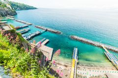 Turquoise water in Sorrento coast. Campania, Italy royalty free stock images