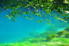 Turquoise water at source of river Blau in Blaubeuren, Germany. Turquoise water of Blautopf, karstic spring of river Blau in Blaubeuren, Germany, swabian alb Royalty Free Stock Photo