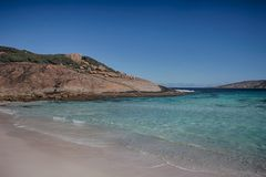 Turquoise water. Sparkling Turquoise water and brilliant white sand at a beach on Cape le Grande national park, south western australia Stock Photography
