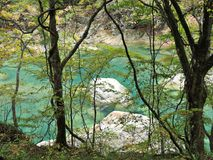Turquoise water stream at Dakigaeri Gorge in Japan. stock photography