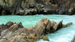 Turquoise water stream. A flow of turquoise water in the mountain river, Alberta, Canada stock video