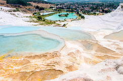 Turquoise water travertine pools at Royalty Free Stock Photo