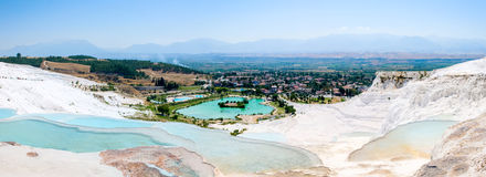 Turquoise water travertine pools at pamukkale royalty free stock images
