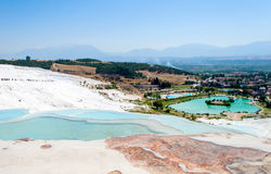 Turquoise water travertine pools at pamukkale Stock Photos