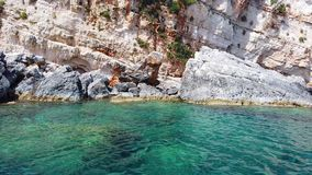 Turquoise water under Blue Caves in Zante. Island, Greece stock video footage
