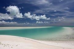 Turquoise water and white sand in Kiritimati lagoon Royalty Free Stock Photo