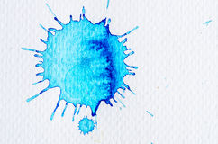 Turquoise watercolor blot on white paper Royalty Free Stock Images
