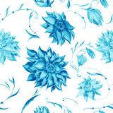 Turquoise Watercolor Floral Pattern Royalty Free Stock Photography