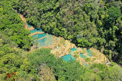 The turquoise waterfalls of Semuc Champey, Guatemala stock images