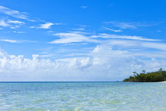 Turquoise waters of bahamas. Turquoise waters of the bahamas with island Stock Photography