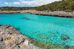 Turquoise waters of a bay in the Mondragó Natural Park, Mallorc Royalty Free Stock Image