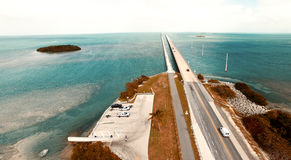 Turquoise waters and bridge on the Overseas Highway, aerial view Stock Photo
