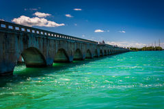 Turquoise waters and bridge on the Overseas Highway, in Islamora Stock Photos
