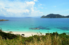 The turquoise waters of the Cíes islands (Spain). The Cies Islands are an archipelago off the coast of Pontevedra in Galicia (Spain), in the mouth of the Stock Photos