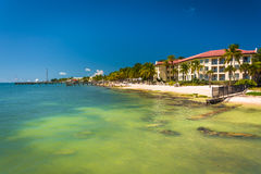 Turquoise waters of the Gulf of Mexico and buildings along the b Royalty Free Stock Photo