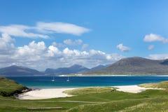 Turquoise waters on Isle of Harris. Turquoise waters of Luskentyre beach on the Isle of Harris, Outer Hebrides, Scotland stock images