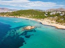 The turquoise waters of Kavouri Beach in Vouliagmeni, Athens Royalty Free Stock Photos