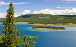 Turquoise Waters of Khovsgol Lake Stock Photo