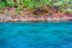 Turquoise waters of Mediterranean coastline. With pine trees in southern Turkey stock photography