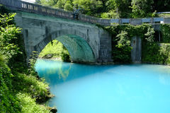 Turquoise waters of Most Na Soci. The turquoise waters of Most Na Soci, Slovenia Stock Image