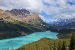 Turquoise Waters of Peyto Lake at Bow Summit, Banff National Park, Alberta. Dramatic sun and clouds above the turquoise waters of Peyto Lake at Bow Summit in royalty free stock images