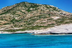 Turquoise waters in Polyegos island, Cyclades, Greece Stock Images