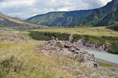 Turquoise waters of the river Chuya, Altai mountains, Siberia, R Royalty Free Stock Photo
