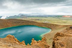 Viti Lake in the Krafla volcano area in Iceland stock photography