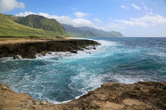 Turquoise wave in Kaena Point SP Stock Photos