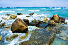 Turquoise waves. Abstract turquoise waves in Greece Stock Image