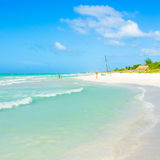 Turquoise waves on the beautiful Varadero beach in Cuba Stock Photos