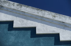 Turquoise-white-blue. Detail of a roof in the harbor quarter of Lissabon, the capital of Portugalia stock image