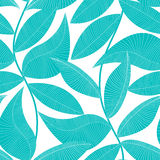 Turquoise and white tropical leaf seamless pattern Stock Images