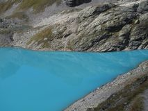 turquoise wild lake 5-Lakes Hike, Wildsee, CH stock image
