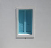 Turquoise window, Italy. White house with blue shutters, Italy Stock Photos