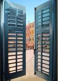 Turquoise window in Rovinj, Croatia Stock Photo