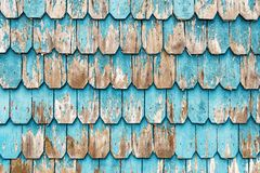 Turquoise Wood Panel Architecture in Puerto Varas, Chile stock image