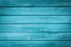 Turquoise wooden background. Painted plank in vintage style. stock image
